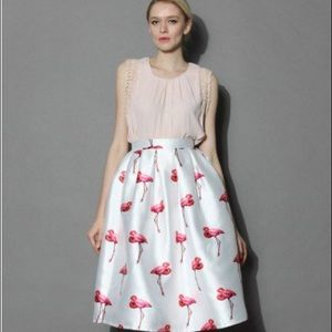 Chicwish flamingo midi skirt